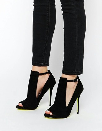 shoes black heels high heels cut out high heels
