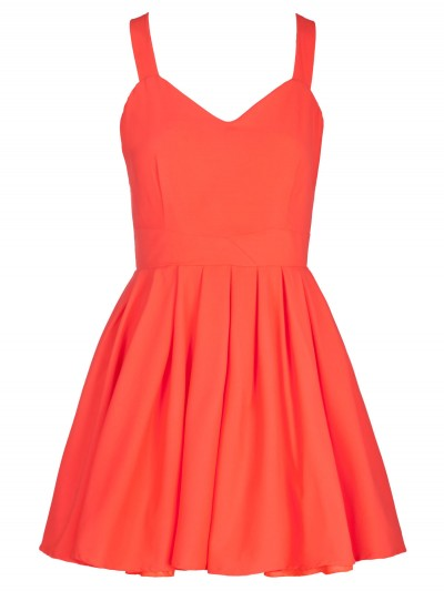 Coral Neon Bow Back Skater Dress | Dresses | Desire