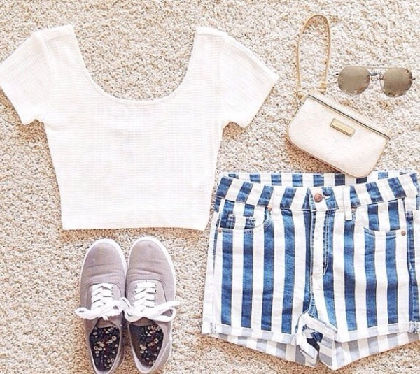 shorts stripes blue white bag shoes shirt