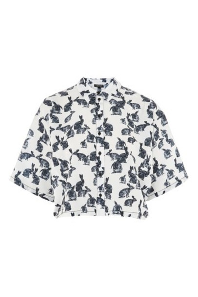 Topshop shirt bunny short print monochrome top