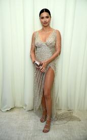dress,gown,prom dress,adriana lima,oscars 2018,red carpet dress,beaded dress,beaded,sparkly dress,diamonds,slit dress,sexy dress,shoes