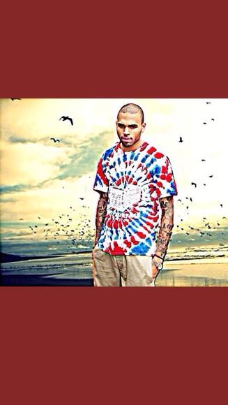 chris brown tie die shirt mens t-shirt