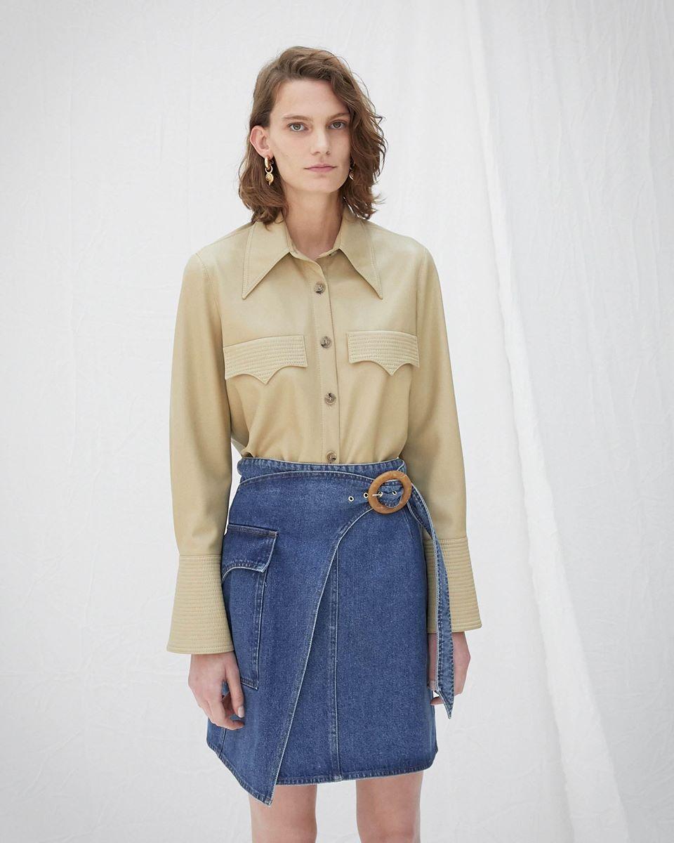 ELPI - Vegan leather quilt detail shirt