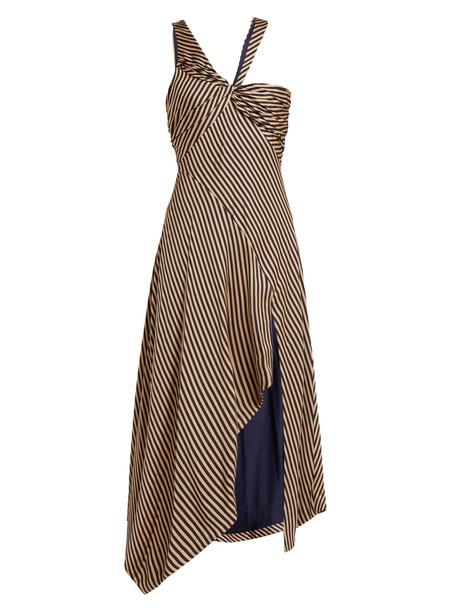 JONATHAN SIMKHAI Asymmetric striped gown in navy / beige / beige