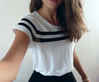 top t-shirt cool classy todiefor white t-shirt sheer stripes