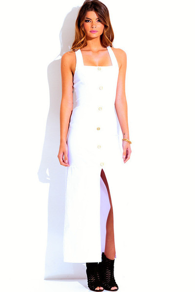 Millicent military style white maxi dress