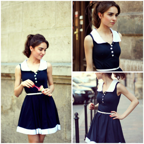 dress navy button sailor collar collared dress