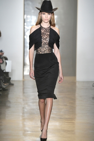 Cushnie et ochs silk crepe lace dress black