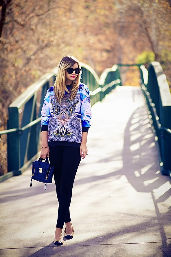 late afternoon sweater pants shoes bag sunglasses