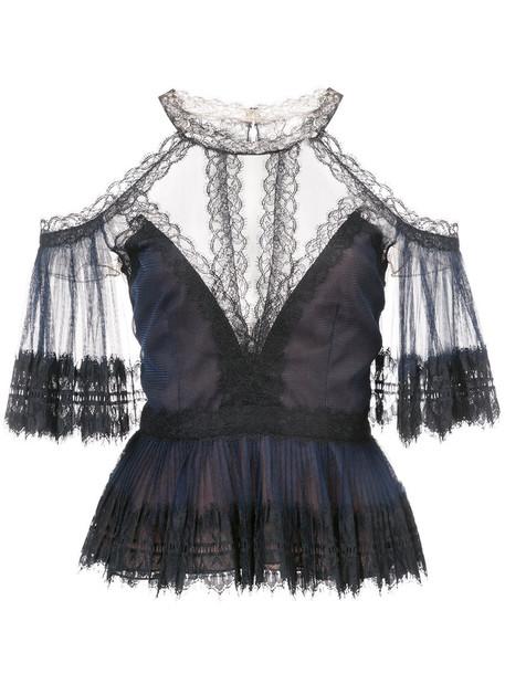 Marchesa Notte blouse women lace black top