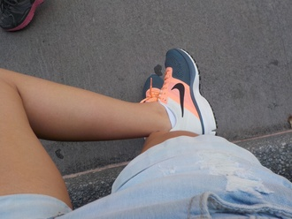shoes tangerine light orange cream grey gris tennis shoe running shoe