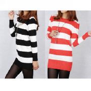 New Casual Long Sleeve Slim Stripe Sweater For Women_10.79