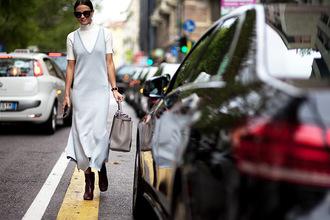 fashion vibe blogger dress shoes sunglasses bag sweater light blue maxi dress