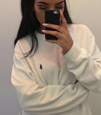 sweater beautiful fashion white polo shirt ralph lauren sweater black black and white 90s style