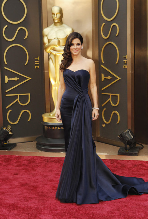 dress beautiful oscars 2014 sandra bullock blue dress