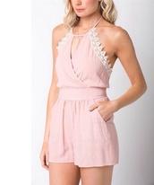 romper,pink,feminine,girly,lace
