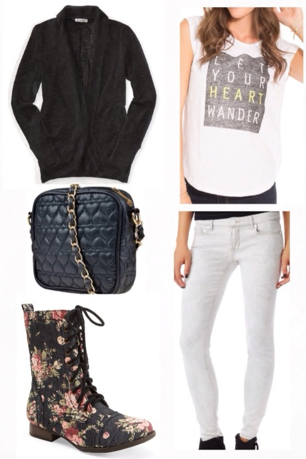 shirt heart bag jeans shoes jacket outfit quote on it white pants white jeans floral shoes polyvore black cardigan