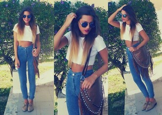 jeans high waisted denim high waisted jeans indie hipster vintage 60s style t-shirt