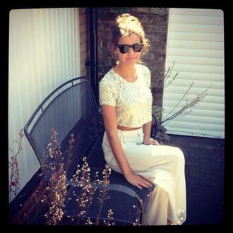 dress long skirt blouse sunglasses eleanor calder louis tomlinson shirt