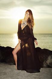 dress,black,see through,sexy,summer,beach,trendy,maxi,bikiniluxe,long sleeve beach dress,cover up,maxi dress,sheer,slit,sundress