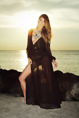 dress black see through sexy summer beach trendy maxi bikiniluxe long sleeve beach dress cover up maxi dress sheer slit sundress