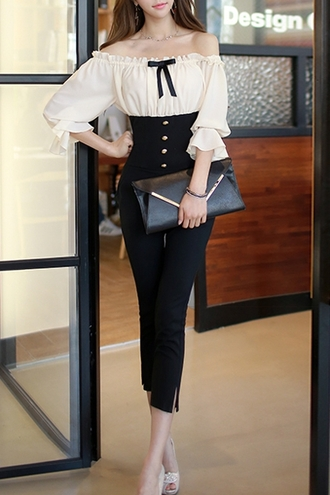 jumpsuit kawaii black and white dressy fancy pretty cute fashion bow long sleeves style cute outfits asian buttons off the shoulder