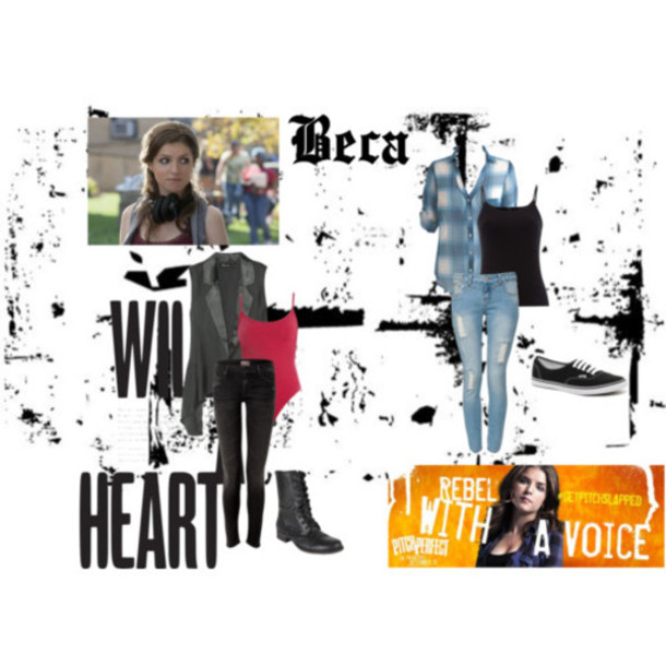 jacket beca pitch perfect anna kendrick tank top shoes pants shirt vest flannel shirt black boots skinny jeans