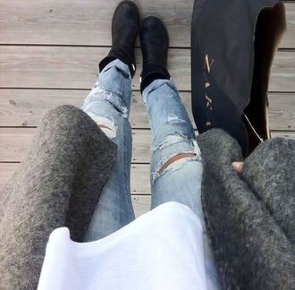 jeans ripped jeans coat