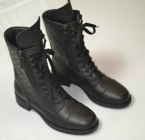 Chanel new quilted leather combat boots zip lace cc black box signature nero