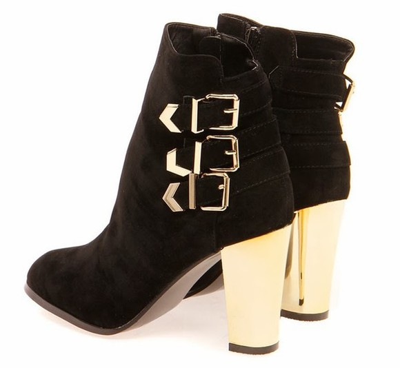 shoes black low boots boots gold low suede suede boots black suede booties