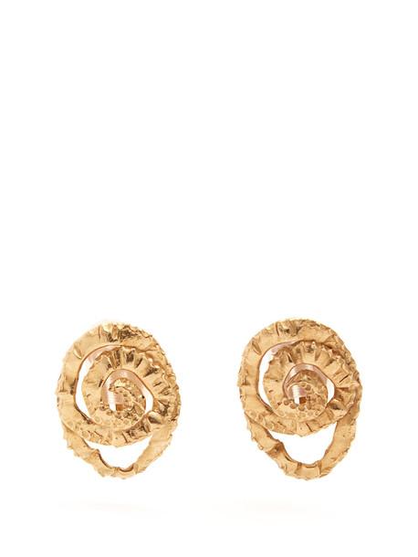 ORIT ELHANATI Four gold-plated clip-on earrings