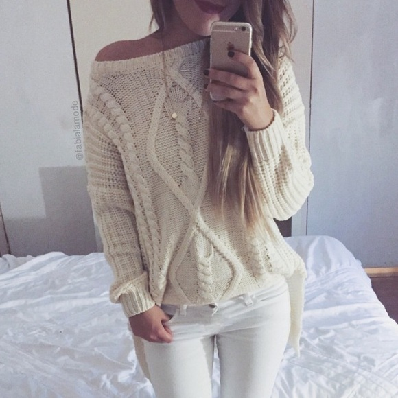 off Lookbookstore Sweaters - Cream colored cable knit sweater from ...