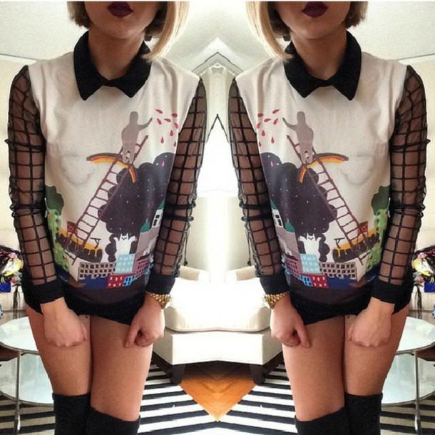blouse collar shirt shirt graphic top