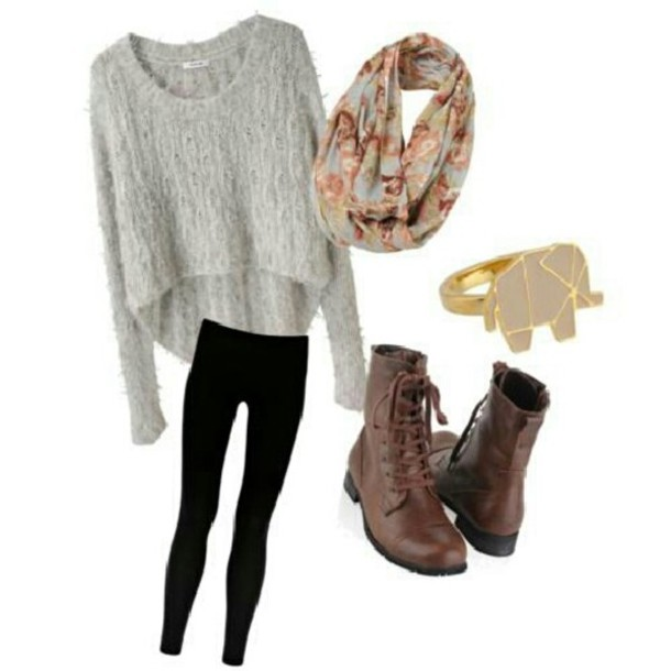 sweater, cute, bag, winter look, boots, scarf, hi low
