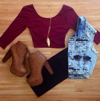 t-shirt sunglasses jacket shoes jewels love it! shirt jean vest leggings crop tops necklace feather chains blouse top