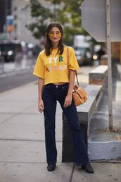 jeans,denim,wide leg jeans,pants,wide leg patst,op,top,yellow,yellow tops,shoes