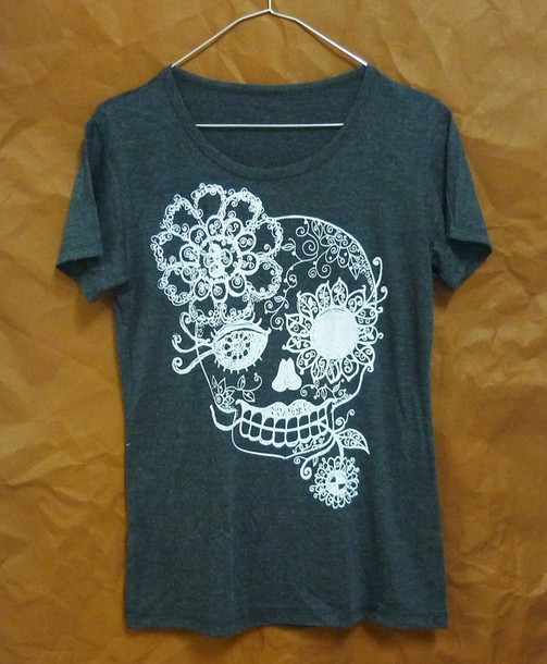 shirt skull t-shirt flower tshirt short sleeve crewneck women tee women tops workout shirt summer tshirt workout