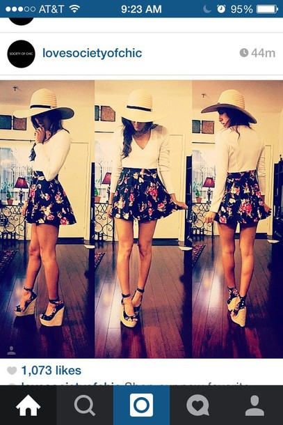 skirt fashion floral skirt white crop tops