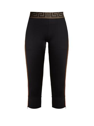 leggings cropped mesh black pants