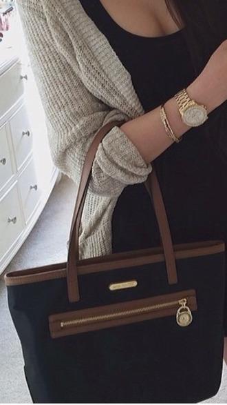 bag brown bag blackbag black gold zip handbag women shoulder bags