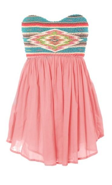 pink dress sequin dress strapless dress tribal print dress high-low dresses chiffon skirt dress