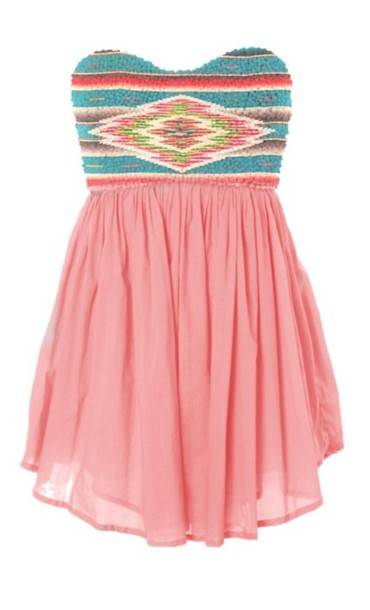 pink dress sequin dress strapless dress tribal print dress high-low dresses chiffon skirt dress