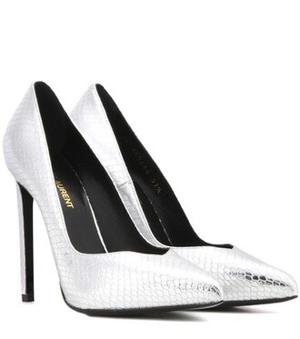 metallic pumps leather silver shoes