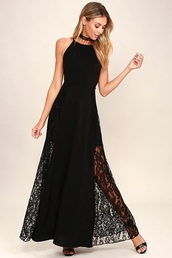 dress,black,lace,halter top,homecoming,prom,evening dress,long evening dress,evening outfits,formal dress,formal event outfit,black prom dress,black dress,long prom dress,sexy prom dress,lace prom dress,black lace dress