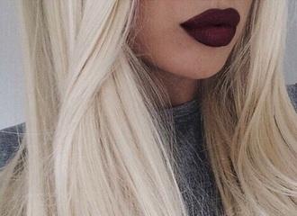 make-up lipstick dark lipstick blonde hair face makeup
