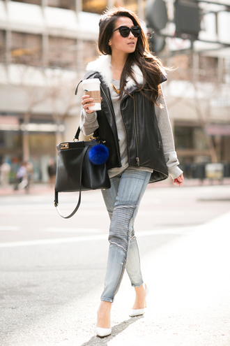 wendy's lookbook blogger sweater grey jeans vest fur fur keychain keychain accessories accessory trendy leather vest black vest sweatshirt grey sweater blue jeans black sunglasses fall outfits black bag white pumps high heel pumps pointed toe pumps pumps