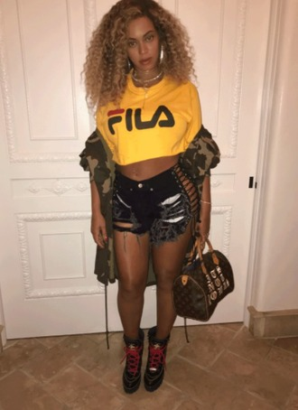 top crop tops cropped yellow top yellow shorts beyonce jacket camouflage camo jacket