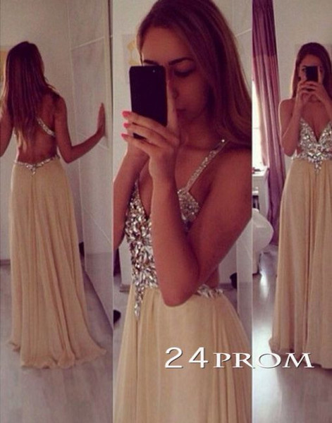 Line backless chiffon long prom dresses, evening dresses