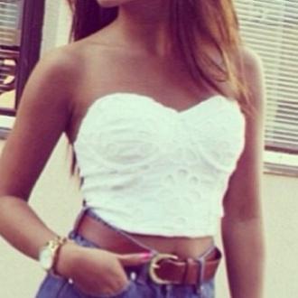 shirt white corsage bandeau top