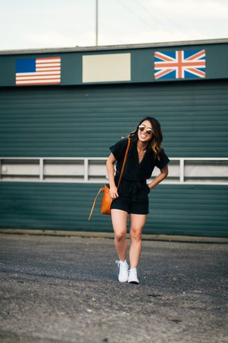 readytwowear blogger romper sunglasses bag sneakers shoulder bag summer outfits